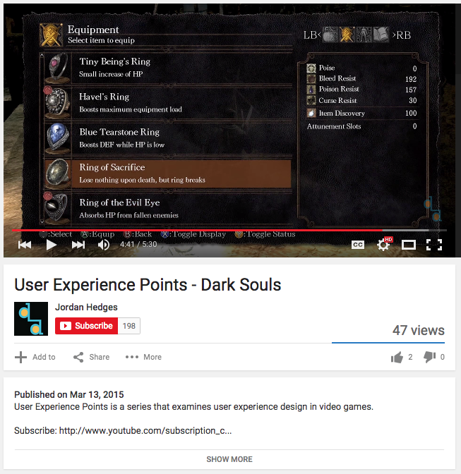 The UXP Video analysing the user experience of Dark Souls